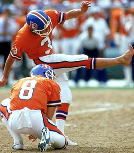DENVER - SEPTEMBER 13:  Kicker Rich Karlis #3 of the Denver Broncos attempts a field goal during a game against the Seattle Seahawks at Mile High Stadium on September 13, 1987 in Denver, Colorado.  The Seahawks won 17-10.  (Photo by George Rose/Getty Images) *** Local Caption *** Rich Karlis